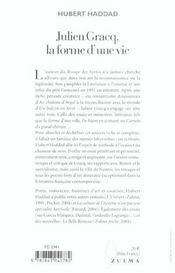 Julien Gracq, La Forme D'Une Vie - 4ème de couverture - Format classique