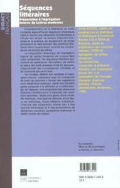 Sequences litteraires - 4ème de couverture - Format classique