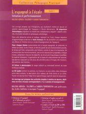 L'espagnol à l'école ; initiation et perfectionnement ; cycle 3 - 4ème de couverture - Format classique