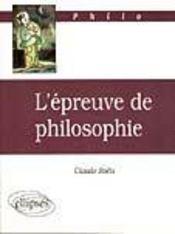 L'Epreuve De Philosophie - Intérieur - Format classique