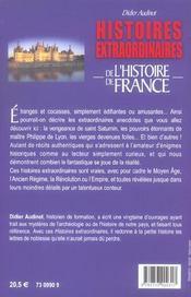 Histoires Extraordinaires De L'Histoire De France - 4ème de couverture - Format classique
