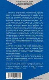 Contribution A Une Theorie Generale Des Contrats Entre Personnes Publiques - 4ème de couverture - Format classique