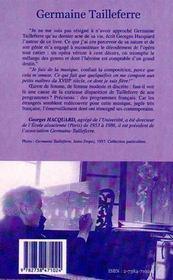Germaine Tailleferre La Dame Des Six - 4ème de couverture - Format classique
