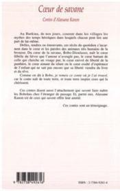 Coeur De Savane ; Contes D'Alassane Kanon - 4ème de couverture - Format classique