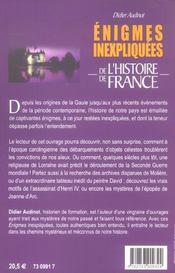 Enigmes Inexpliquees De L'Histoire De France - 4ème de couverture - Format classique