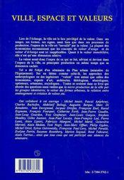 Ville, Espace Et Valeurs - 4ème de couverture - Format classique