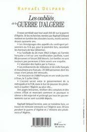 Les oublies de la guerre d algerie - 4ème de couverture - Format classique