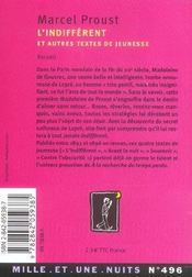 L'indifférent ; et autres textes de jeunesse - 4ème de couverture - Format classique