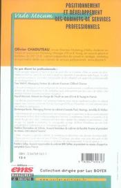 Positionnement Et Developpement Des Cabinets De Services Professionnels. Vade-Me - 4ème de couverture - Format classique