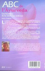 Abc De L'Ayurveda - 4ème de couverture - Format classique