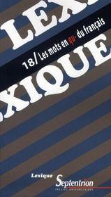 Revue Lexique N.18 ; Les Mots En Qu- Du Français - Intérieur - Format classique