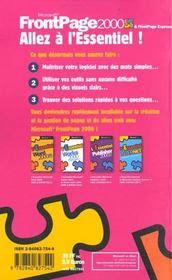 FrontPage 2000 & FrontPage Express - 4ème de couverture - Format classique