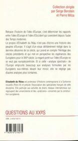 L'idée d'Europe au XXe siècle - 4ème de couverture - Format classique