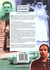 Noms De Famille En France - 4ème de couverture - Format classique