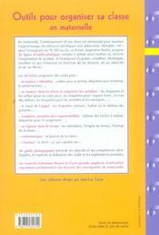 Outils pour organiser sa classe en maternelle ; fiches à photocopier - 4ème de couverture - Format classique