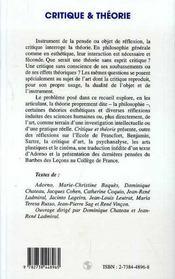 Critique Et Theorie - 4ème de couverture - Format classique