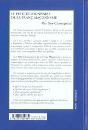 Le Petit Dictionnaire De La Franc-Maçonnerie - 4ème de couverture - Format classique