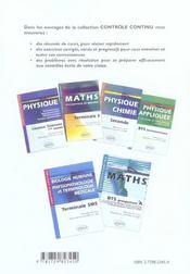Mathématiques/physique-chimie ; terminale SMS - 4ème de couverture - Format classique