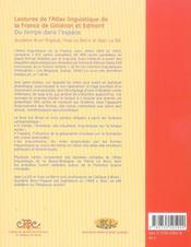 Lectures De L'Atlas Linguistique De La France De Gillieron Et Edmont ; Du Temps Dans L'Espace - 4ème de couverture - Format classique