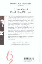 Strange case of dr. jekyll et mr. hyde ; essays of the art of writing - 4ème de couverture - Format classique