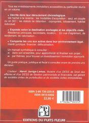 Investir Dans L'Immobilier. Guide Pratique, Juridique Et Fiscal - 4ème de couverture - Format classique