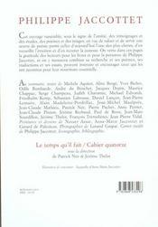 Cahier P. Jaccottet - 4ème de couverture - Format classique