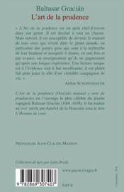 L'Art De La Prudence - 4ème de couverture - Format classique