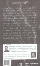 Corse ; le terrorisme - 4ème de couverture - Format classique