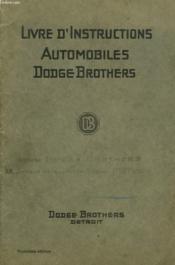 LIVRE D'INSTRUCTIONS AUTOMOBILES DODGE BROTHERS. 13e EDITION. - Couverture - Format classique