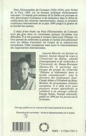 Paul D'Estournelles De Constant, L'Expression D'Une Idee Europeenne - 4ème de couverture - Format classique