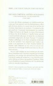Esclaves chrétiens, maîtres musulmans ; l'esclavage blanc en méditerranée (1500-1800) - 4ème de couverture - Format classique