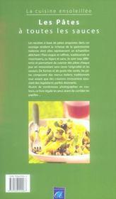 Les pates a toutes les sauces ; la cuisine ensoleillee - 4ème de couverture - Format classique