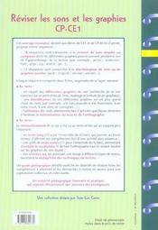 Réviser les sons et les graphies ; CP/CE1 ; fiches à photocopier - 4ème de couverture - Format classique