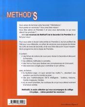 Les vacances de method'S ; mathématiques ; de la 2nde a la 1ère S - 4ème de couverture - Format classique