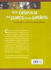Les oiseaux des parcs et des jardins ; de l'accenteur mouchet au verdier d'Europe - 4ème de couverture - Format classique