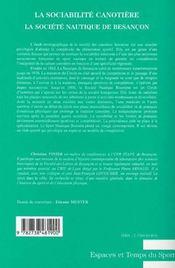 La sociabilité canotière ; la société nautique de Besançon - 4ème de couverture - Format classique