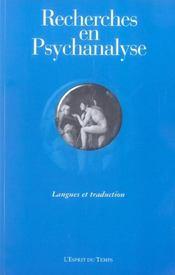 Recherches En Psychanalyse N 4 2005 Langues Et Traduction - Intérieur - Format classique
