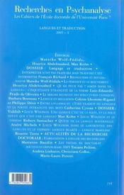 Recherches En Psychanalyse N 4 2005 Langues Et Traduction - 4ème de couverture - Format classique