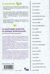 La Psychologie Projective En Pratique Professionnelle - 4ème de couverture - Format classique