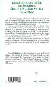 L'Histoire Ancienne Du Mexique Selon Mariano Veitia, Xviii Siecle - 4ème de couverture - Format classique