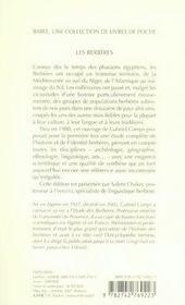 Les berbères ; mémoire et identité - 4ème de couverture - Format classique