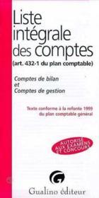 Liste integrale des comptes, conforme a la refonte de 1999 du plan comptable - Couverture - Format classique