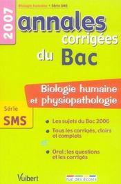 Annales corrigees du bac ; biologie humaine et physiopathologie ; terminale sms ; 2007 - Intérieur - Format classique