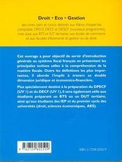 Les Principes Generaux De La Fiscalite - 4ème de couverture - Format classique