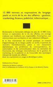 Dictionnaire Pratique De L'Espagnol Des Affaires 13000 Termes Et Expressions Du Langage Parle Ecrit - 4ème de couverture - Format classique