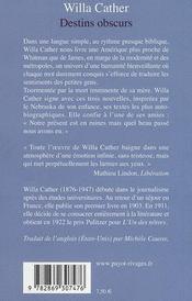 Destins Obscurs - 4ème de couverture - Format classique