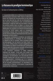 La Naissance Du Paradigme Hermeneutique - 4ème de couverture - Format classique