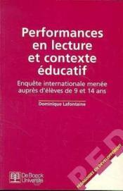 Performances en lecture et contexte éducatif ; enuqête internationale menée auprès d'élèves de 9 et 14 ans - Couverture - Format classique