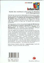 Internet. Guide Des Meilleurs Sites Pour La Gestion Et Le Management, Edition 2000 - 4ème de couverture - Format classique