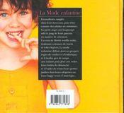 La Mode Enfantine - 4ème de couverture - Format classique